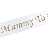 Fußabdruck Mummy To Schwangere Schärpen Weiß-Satin-Band-Schultergurt-Babyparty-Mamma-Geschenk-Partei-Dekorationen Seien