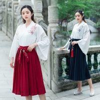 Носить сценическую одежду Hanfu платье весна и летние женщины набор костюмов китайская древняя традиционная одежда народной танец юбка DQL353