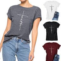 Frauen arbeiten Kreuz Glaube Shirt Causal Jesus-Buchstabe gedrucktes T-Shirt Christian Graphic Tees Kurzarm T-Shirt