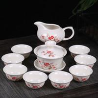Chinois Kung Fu Celadon Tea Set en céramique Drinkware Inclure Coupe Teapot Soupière Infuser Plateau à Thé Emballage cadeau Boxed vente chaude