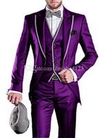 Очень хорошо одна кнопка фиолетовый жених смокинги пик нагрудные мужские костюмы 3 шт. свадьба / выпускной вечер / ужин блейзер (куртка + брюки + жилет + галстук) W540
