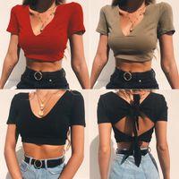 Moda Kadın V-Yaka Kısa Kollu Crop Top Tişörtlü Parti Yelek Kısa Elbise Yaz Casual Bandaj Backless Pamuk Giyim