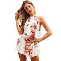 d9f49f569fd9 Compre Mujeres Gasa Floral Halter Rompers Vocation Amarillo Brazo ...
