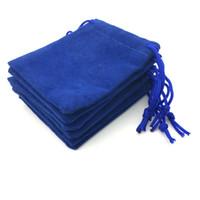 100 stks / partij fluwelen marineblauw 5 * 7cm sieraden cadeau bruiloft tassen brace riem pouches groothandel kerstcadeau tas party bags