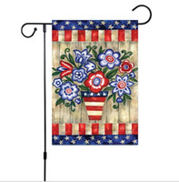 120pcs New Independence Day Garden Flag Lino USA stampa floreale Bandiere appese bandiere Indoor Outdoor Decorazione della casa