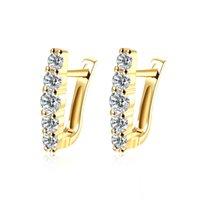 Orecchini progettati unici Imitazione oro placcato geometrico modello mosaico zirconico zircone clip-on tally orecchino alla moda regali da ballo alla moda potala151
