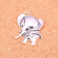 25pcs Charms große Ohren Elefant Antike-Silber überzogene Anhänger, die DIY Handmade tibetischen Silberschmuck 37 * 31mm