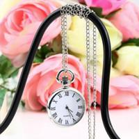 Outad 1 pcs quartzo redondo relógio de bolso relógio dial vintage colar de prata cadeia de pingente de estilo antigo personalidade muito presente