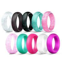 5,7mm Crystal Powder Silicone Anillos Femeninos Para Mujeres Niñas Anillo De Dedo Flash Pink Pink 9 Colores Joyería Tamaño 4 5 6 7 8 9 10