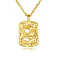 Collares colgantes de roca 18k oro hueco Dragón Dominio Dominio de la personalidad áspera Joyería para hombres Hip Hop Cuban Link Cadena Collar