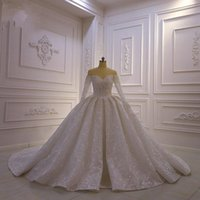 Luxury Sequined Beaded Ball Gown Wedding Dresses Vintage Arabic Dubai Crystal Plus Size Off Shoulder Long Sleeves Bridal Gowns