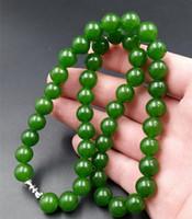 6mm-10mm Piękny Chiński Handcraft 100% Naturalne Jade Green Jade Naszyjniki