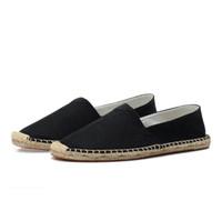 Con la scatola estive scarpe casual tela degli uomini delle donne di paglia a mano canapa Fisherman pattini pigri un pedale tela calza il formato 35-45