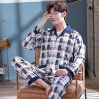 Uomo Pajama Set Uomini cotone Sleepwear Pajamas Set Primavera Autunno Pijama Hombre Mens Sleepwear righe Abiti da notte Pigiama Plus Size