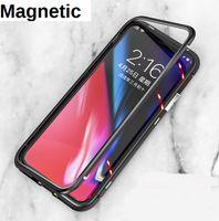 Manyetik Adsorpsiyon Metal temperli cam Case Arka iPhone XS Max XR X 8 8 Artı 7 6 S20 Ultra S10 Artı Note10