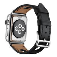 Apple watch serisi için kalite Deri Kayış 4/3/2/1 iwatch 38 MM 40 MM 42 MM 44 MM için Nefes moda bant
