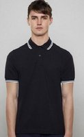 Fred London Brit Men Solid Polo Shirts Leaf Embroidery Tipped Cotton Short Sleeve Striped Collar Perry Polos England T-Shirt White Black