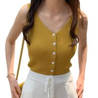 Summer Vest Sexy Women Camisole Knitted Sleeveless V-neck Slim Sling Tank Tops Comfortable Female Camis Button Solid Wholesale