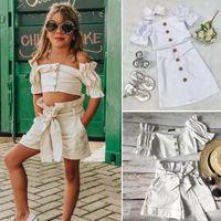 Ins Bebek Kız Yaz Beyaz Kıyafetler 2020 Yeni Bebek Çocuk Çiy Omuz Puf Kısa Kollu Gömlek + Yaylar Şort Etek 2 adet Setleri A2262