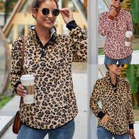 Femmes Leopard Sweats à capuche Hauts pied bouton à manches longues col Sweat-shirt à capuche outwear manteau Automne Hiver LJJA3700-13