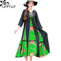 Abiti casual Uhytgf National Wind Large Swing Donne Ricamato Stitching Stitching Primavera Dress Summer Dress Lady Plus Size 405