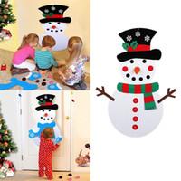 Muñeco de nieve del rompecabezas DIY fieltro del muñeco de nieve Adornos de bricolaje puerta colgar de la pared regalos Decoración de Navidad de los niños