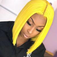 Volle spitze menschliches haar kurze bobperücke mit baby haar reine gelbe farbe gebleichte knoten natürliche haarlinie spitze front menschliches haar bobperücken