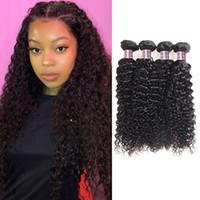 ISHOWブラジルの深い巻き巻き水体まっすぐな人間の髪の束4個の髪の伸び卸売マレーシアの処女の巻き毛の織り