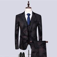 Trajes para hombres Blazers Tamaño asiático Últimas impresiones Casual Slim Men Traje Solicitud de Moda de Moda Solicitud TUXEDO 3 PCS Conjunto Novio de boda