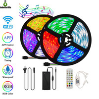 5m 10m Wifi Bluetooth Music 5050 RGB LED Streifen Licht Kit 24 Tasten Fernbedienung Wasserdicht flexibles LED-Bandband