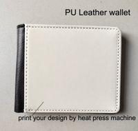 Carteira de couro PU Sublimação imprensa do calor bolsa carteira dos homens pode imprimir seu próprio projeto por máquina 100 pcs