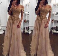 Champagne pizzo in rilievo arabo Abiti da sera Sweetheart una linea Tulle largo della spalla Prom Dresses Vintage Cheap partito convenzionale abiti Designer