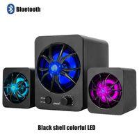 Bluetooth-Version Eingebaute Bunte LED 2.1 3-Kanal-Subwoofer-Lautsprecher Regenbogen-Hintergrundbeleuchtung USB Power Computer MP3-Mobiltelefon-Lautsprecher D217