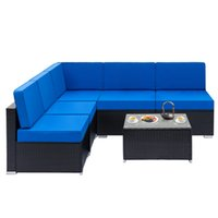 Webe Rattan Sets mit 1 stücke Ecke 4 stücke Einzelne Sofas 1 Stück Couchtisch Familie Indoor Kombination Lisure Sofa Set