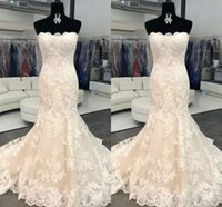 Newest Design Wedding Dresses Strapless Bodice Corset Mermaid Lace Appliques For Bride Mopping Long Section