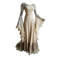 المرأة طويلة الأكمام مائلة الرقبة اللباس العصور الوسطى الطابق طول تأثيري اللباس أنيقة ومريحة 2019 جديد # 35