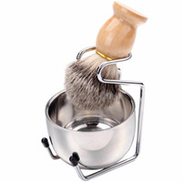 Cepillo de afeitado de los hombres conjunto de tejón de cabello mango de madera de acero inoxidable de acero inoxidable tazón de barbero hombres faciales barba limpieza herramienta de afeitado HAA1184