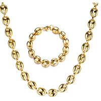 Мужские ожерелья кофе в зернах цепи браслеты Набор из нержавеющей стали 11см золото / серебро Цепи Hiphop ювелирных изделий