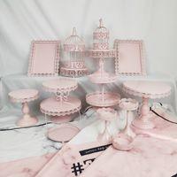 الجملة-الوردي الحديد معدن كعكة تقف مجموعة 14 pieces الزفاف صينية كب كيك لوحة عيد ميلاد الحزب الديكور أداة خبز أدوات المائدة