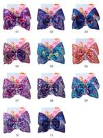Clip 27style della ragazza di capelli dell'arco 8 pollici Jojo fiori arcobaleno della sirena Flamingo Neve stampare archi dei capelli Barrettes copricapo dei capretti con la clip GGA3647-1