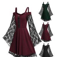 Повседневные платья 3 цвета женщины сексуальные трубки топ подтяжки кружева весна лето сплошной цвет элегантные длинные рукава платье ретро модный темперамент