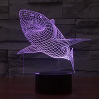 3D 상어 빛 7 색 변경 테이블 책상 데크 램프 침실 어린이 방 장식 야간 조명 (상어)