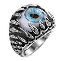 Men Classic Vintage Evil Eye Stainless Steel Finger Ring Eyeball Hip Hop Punk Goth Cluster Ring Jewellery