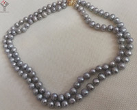 0ce11596f1ec Joyas para mujer 2 capas collar 9x10mm perlas grises collar hecho a mano  natural de agua dulce perla cultivada