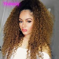 Capelli vergini brasiliani Kinky ricci 1b / 30 Ombre capelli umani 13 * 4 parrucche anteriori in pizzo 12-32 pollici 1b 30 Two Tones Colour Kinky Ricci Yirubeauty
