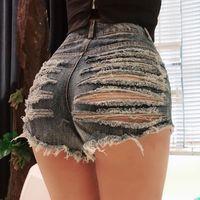 Sexy Strappato Hole Booty shorts a vita alta Donne Fringe Jean pantaloncini estivi Cute Girl Locale notturno Party Hotpants