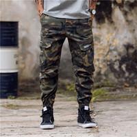 Nouvelle arrivée Mode Hommes Camouflage Pantalon de jogging Fermeture à glissière Salopette Faisceau pied Pantalons Pantalons irrégulière Hip Hop Hommes Pantalons 28-40