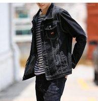 Escudo Vintage Denim Mens ocasionales Cardigan Jacket para hombre Moda Adolescente Jeans chaqueta del diseñador del color primario Negro