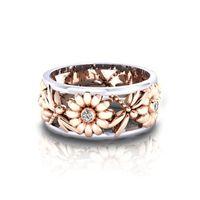 Diamond Flower Raisy Кольцо Пустоты Розовое Золотое Золото Кольцевые кольца для Женщин Мода Ювелирные Изделия будут и Сэнди Подарок