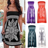 Summer Casual Dresses Women Off Shoulder Europe and America sexy skirt word wrap chest print sleeveless factory direct sales women's dress Plus Size S-XL